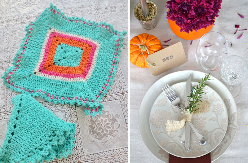 Crocheted napkins,fall table setting