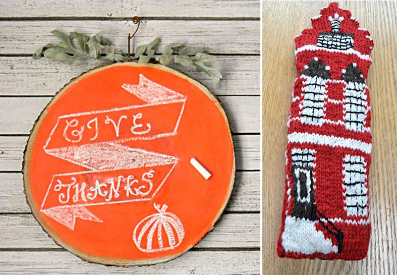 Knit Dutch row house,pumpkin chalkboard