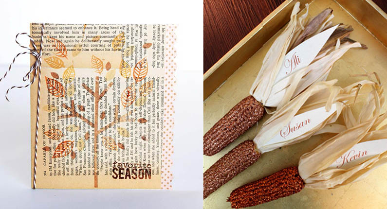 Indian corn glitter placecards,fall book page greeting card