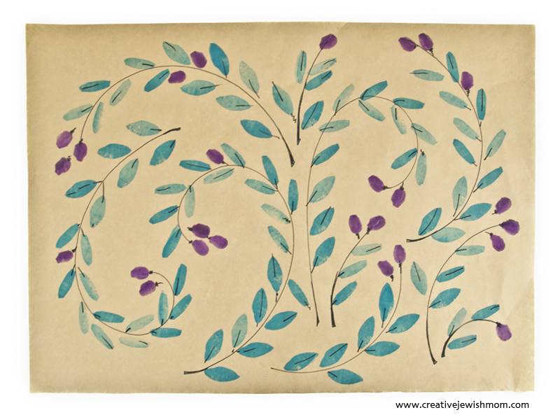 Potato Print Olive Branch Gift Wrap For Hanukkah