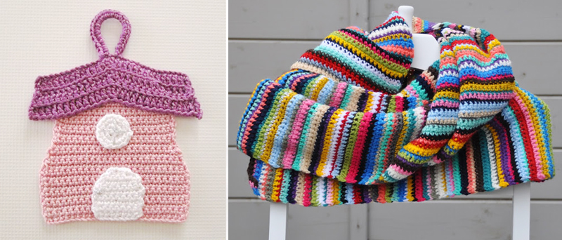 Striped crocheted scarf,crocheted house pot holder