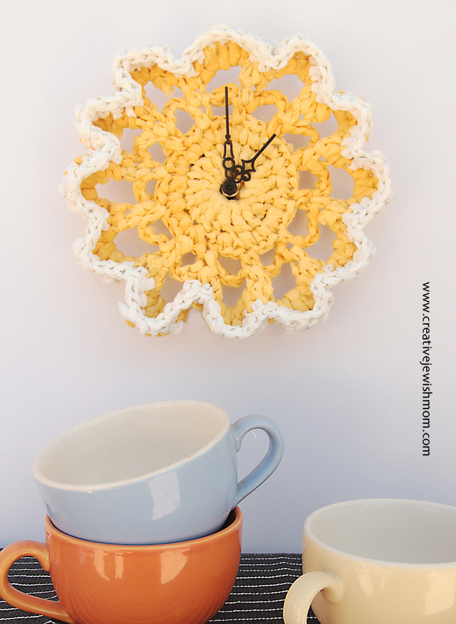 Crocheted plastic bag doily clock