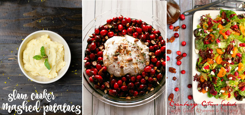 Baked goat cheese with cranberries,slow cookier mashed potatoes