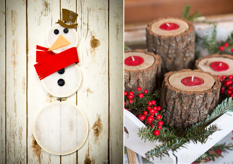 Embroidery hoop snowman,rustic wood tea light candle holder