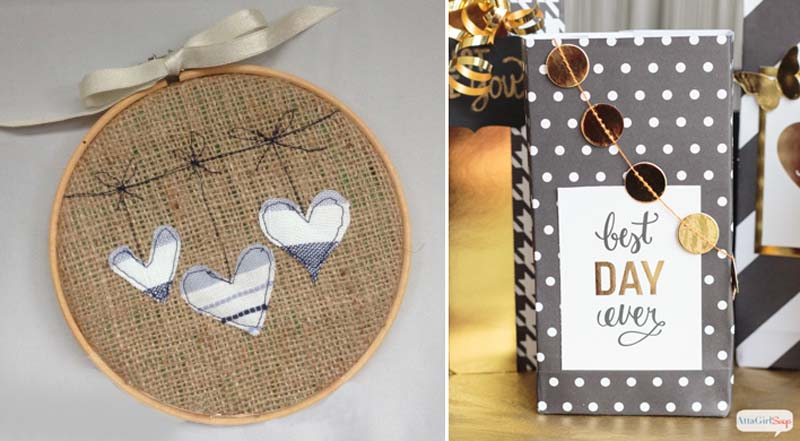 Embroidery hoop heart ornaments,scrap gift bag