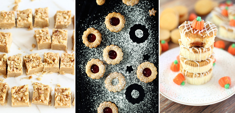 Spiced linzer cookies,pumpkin oreo tower,pumpkin fudge