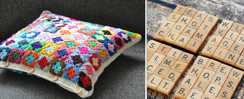 Scrabble tile coasters, mini granny pillow