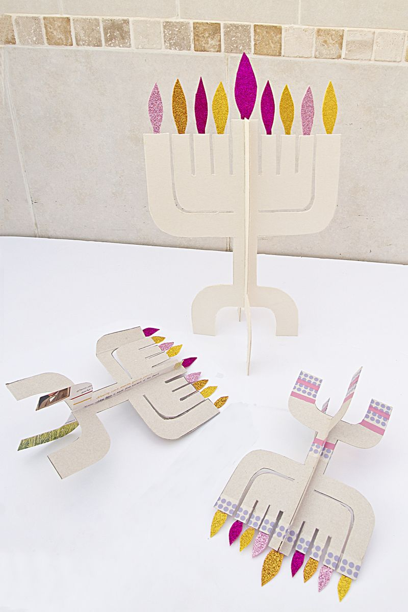 Hanukkah Menorahs From Cardboard Fallen Over