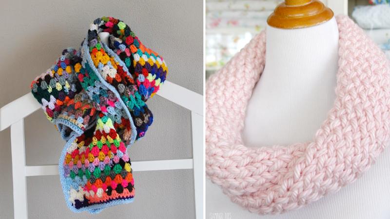 Yarn scraps granny scarf,knitting loom cowl