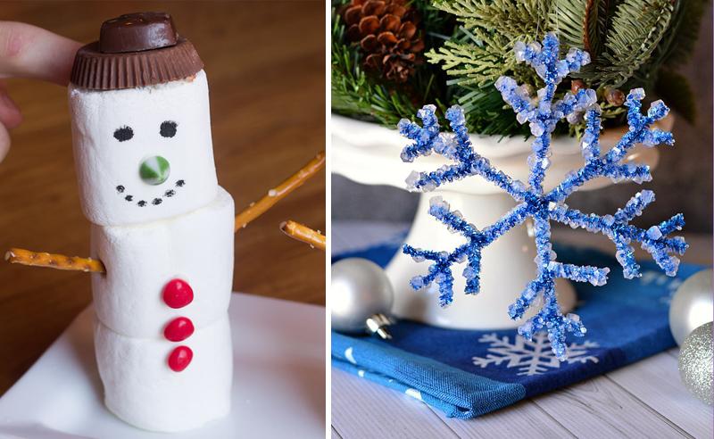 Borax snowflake craft, marshmellow snowman