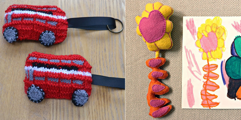 Knit london bus key chains,felt flower from kids drawing