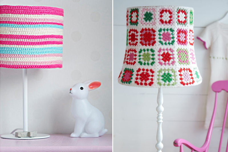 Crocheted Granny square lampshade,striped lampshade