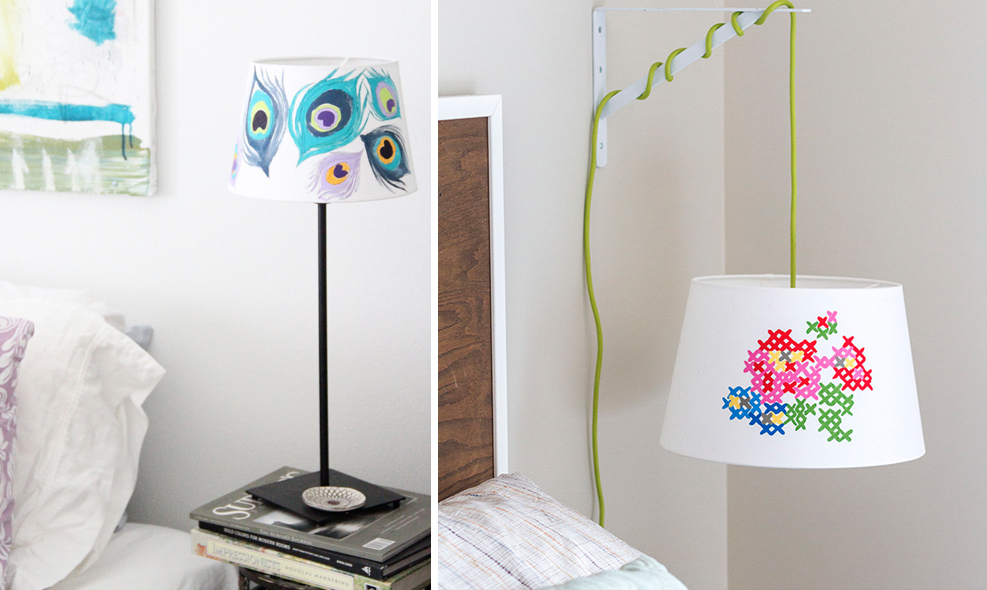 The best of diy painted and embroidered lampshades creative jewish mom lampshade painted cross stitch painted peacock feather aloadofball Images