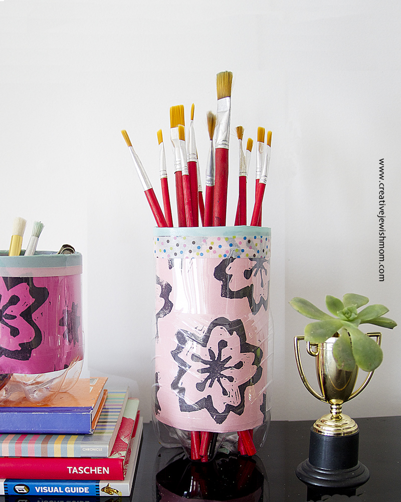 Soda Bottle Organizers With Hand Printed Paper Pink