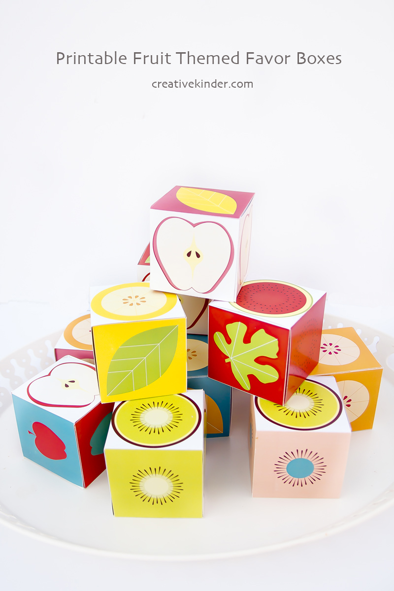 Printable Fruit Slice Cupcake Boxes stacked 800pix