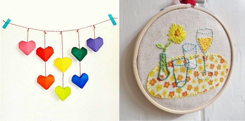 Origami hearts garland,embroidered and appliqued hoop art
