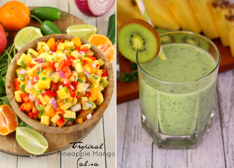 Pineapple mango salsa,green smoothie