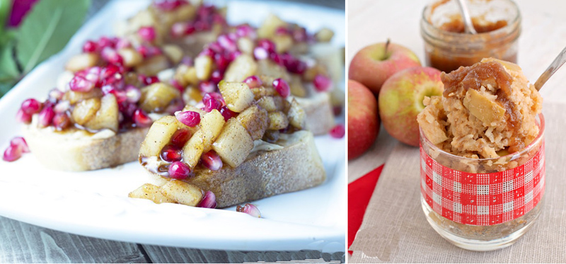 Spiced pear pomegranite crostini,slow cooker apple butter rice pudding