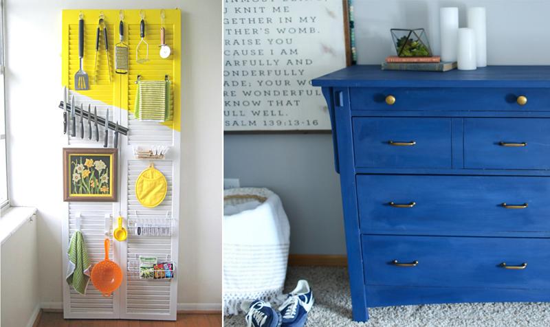 Louver Door Organizer,repainted blue dresser