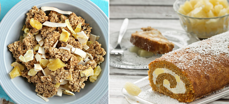 Tropical granola clusters,carrot cake roll with cheese and pineapple filling