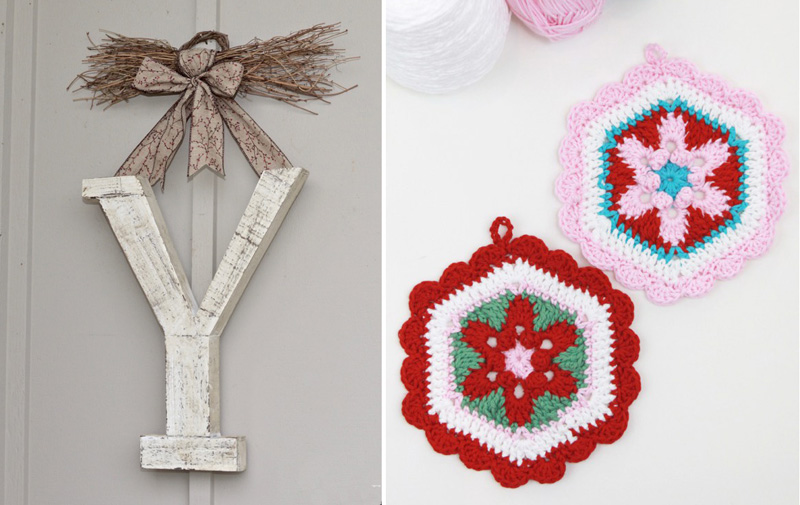 Crocheted potholders vintage style,winter monogram outdoor decor