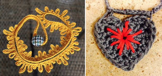Crocheted heart with embroidery,crocheted fringe necklace