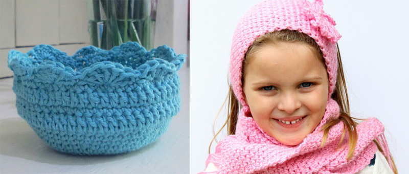 Crocheted bowl,crocheted ear warmer and scarf set