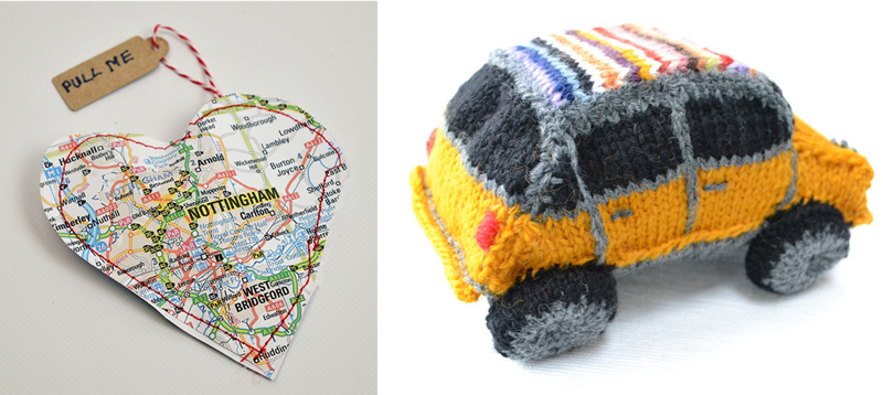 Knit mini cooper paul stuart roof,sewn heart treat from maps