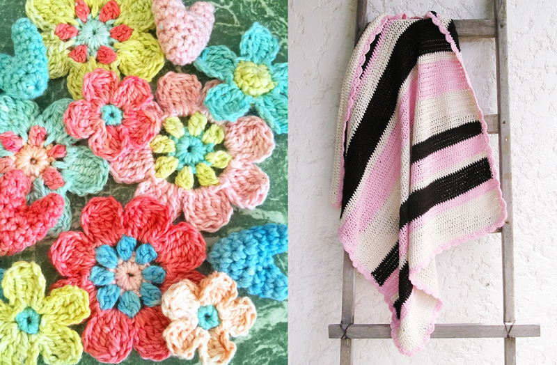 Crocheted flowers in pastels,striped baby blanket crochet