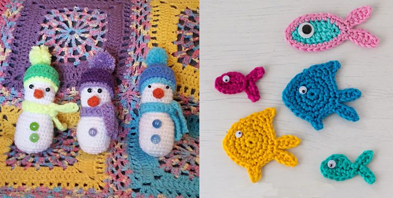 Crocheted snowmen,crocheted fish applique