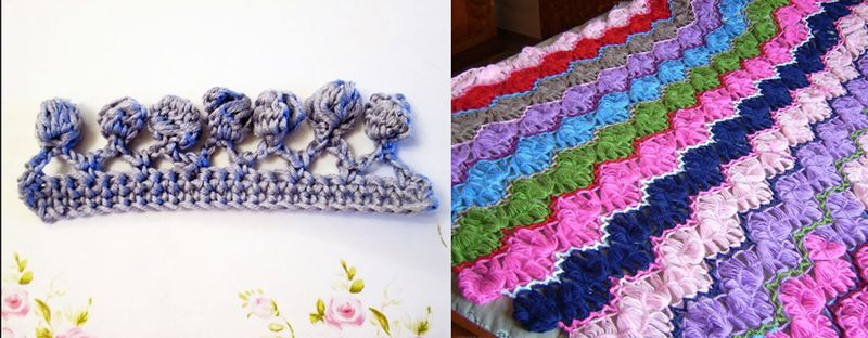 Crocheted bobble trim tutorial,broomstick wave crocheted coverlet