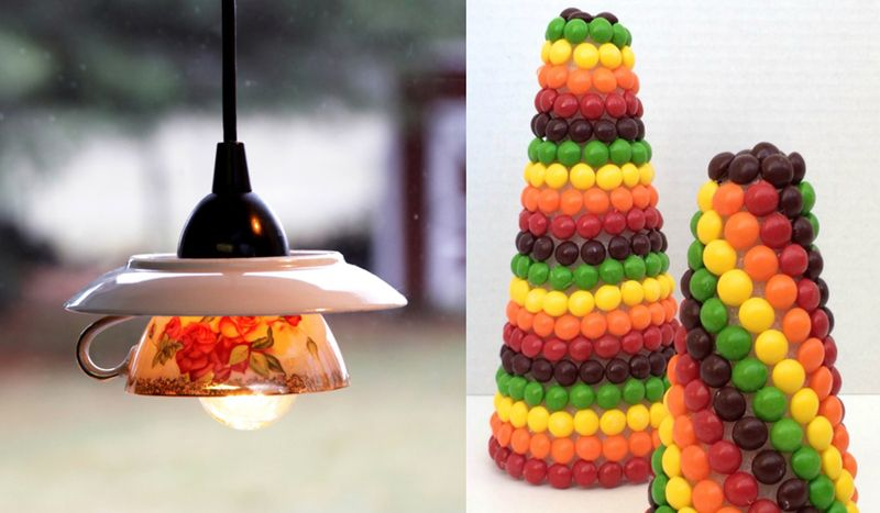 Teacup pendant light,skittles cone rainbow