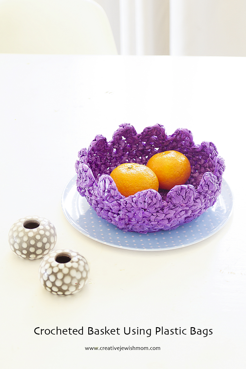 Crocheted Plastic Bag Basket With Ruffled Edge