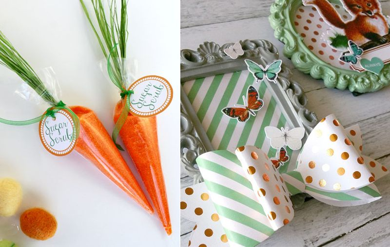 Frames with paper bows,carrot sugar scrub
