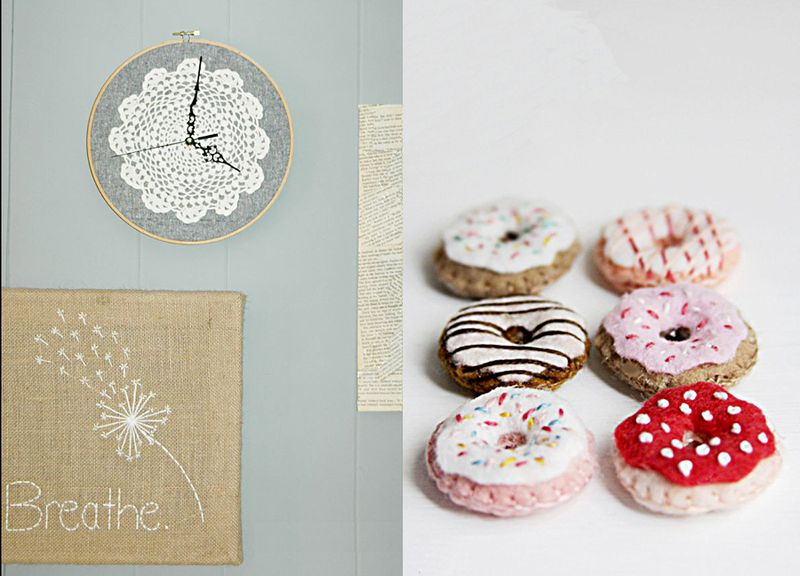 Doily hoop clock,felt mini doughnuts