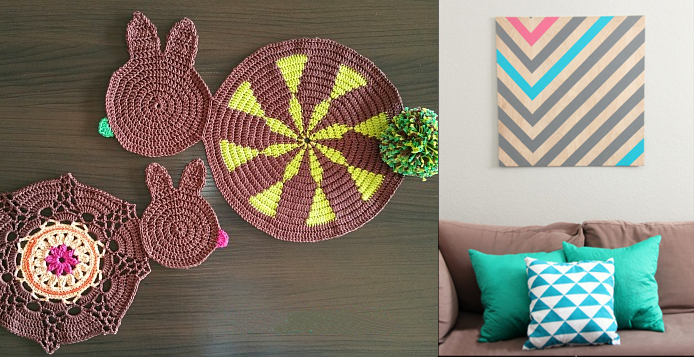Crocheted rabbit placemats,DIY chevron wall art