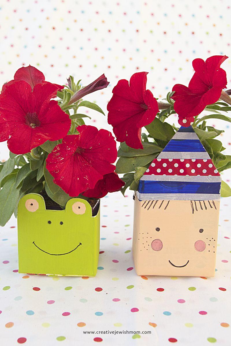 Milk Carton Frog And Birthday boy flower pots