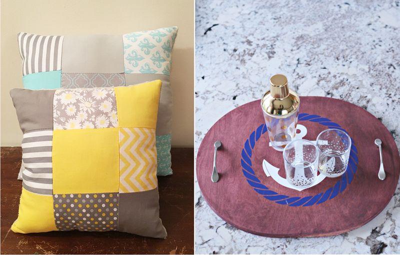 DIY nautical tray,patchwork pillows