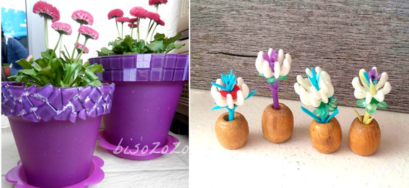 Mosaic on plastic pots,tiny q-tip flowers