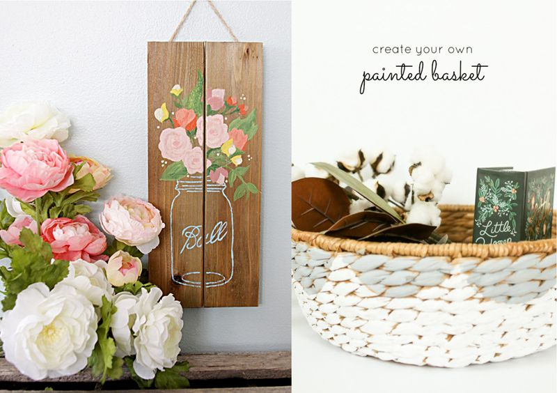 Pallet mason jar sign,painted basket craft
