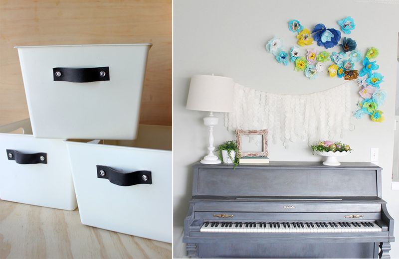 Leather handle storage baskets,spring wall art with tissue paper flowers