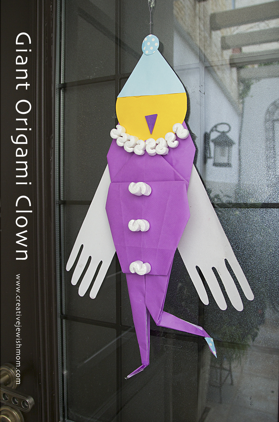 Origami Giant Clown Door Decoration & Giant Origami Clown With Wings For The Front Door! - creative jewish mom