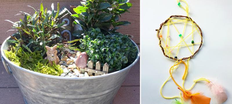 Dream catcher kid's craft,fairy garden galvanized planter