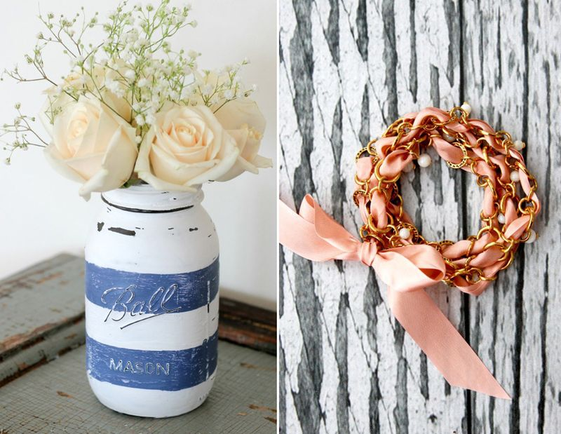 Ribbon and chain bracelet,distressed mason jar vase