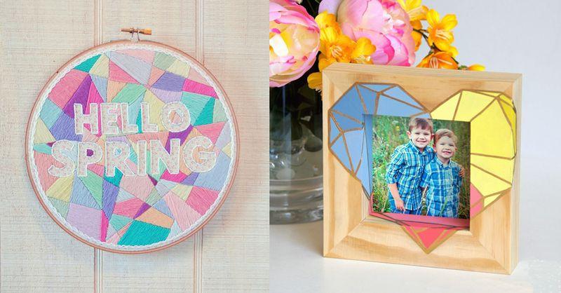 Embroidered geometric hoop art,geometric heart frame