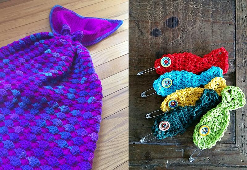 Mermaid tail afghan,crocheted fish