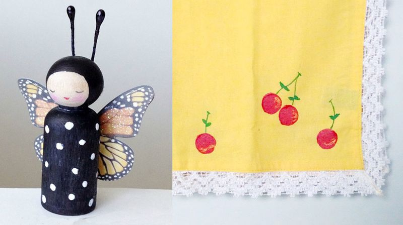 Cherry stamped towel,peg doll butterfly