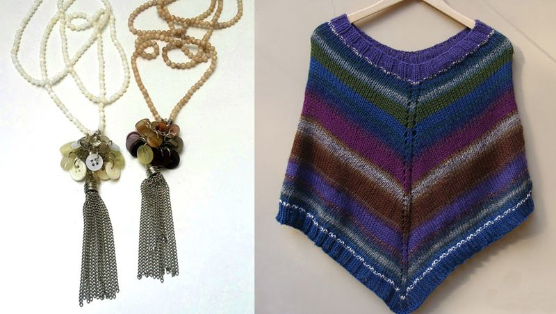 Knit striped poncho,metal tassel button necklaces