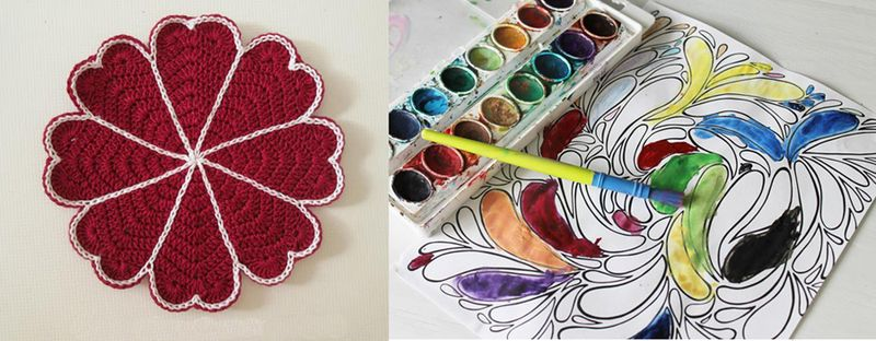 Crocheted joined hearts doily,pool drop coloring page