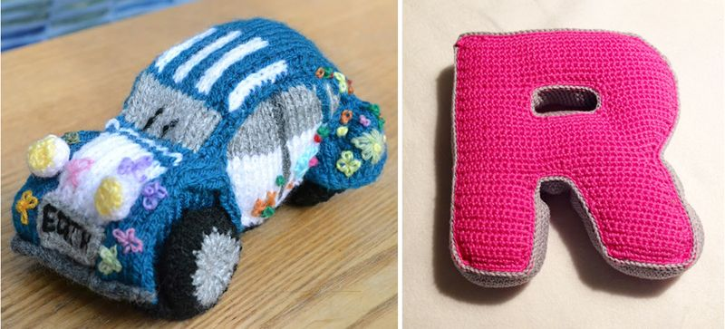 Knit car,crocheted letter pillow